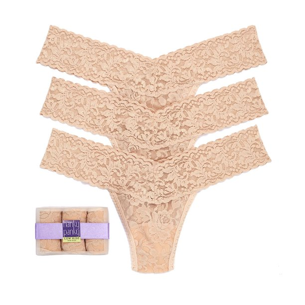 Hanky Panky Womens Signature Lace Low Rise Thong 3-Pack Style-49113PK