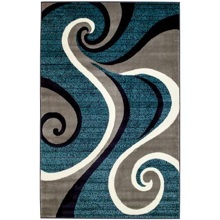 Summit Navy Blue Swirl Area Rug (8' x 11')