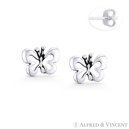 Butterfly Insect Animal Charm Stud Earrings in Oxidized .925 Sterling Silver ()