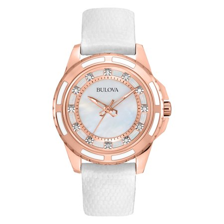 Bulova Womens Textured Leather Diamond Watch