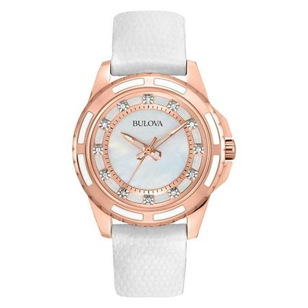 Bulova Women's Textured Leather Diamond Watch