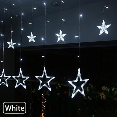 EEEKit Window Curtain Lights, Indoor Outdoor Decoration 12 Stars 138 LED Fairy Strip Lights for Christmas, Valentine's Day, Party, Wedding, Home ()