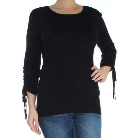 INC Womens Black Ruched Tie 3/4 Sleeve Jewel Neck Sweater  Size: L Cotton Jewel Neck Sweater