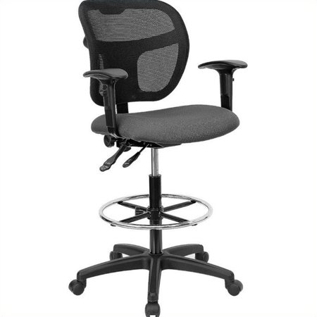 Flash Furniture Mid-Back Gray Mesh Drafting Chair with Back Height Adjustment and Adjustable Arms