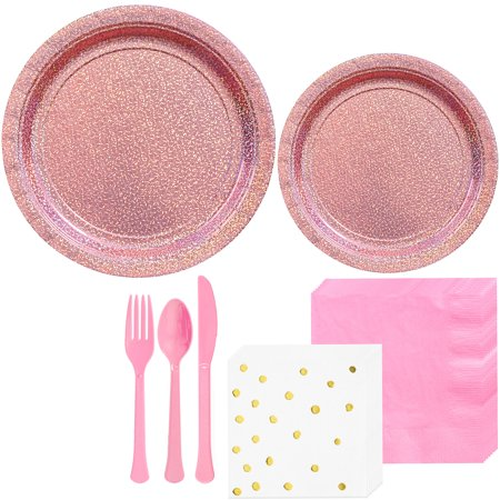 Party City Prismatic Tableware Kit for 16 Guests, 146 Pieces, Includes Plates, Polka Dot Napkins, and Utensils - Party City Belmar