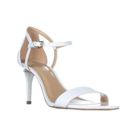 Womens MICHAEL Michael Kors Simone Mid Sandal Ankle Strap Sandals, Optic White (Michael Kors White Sandals)