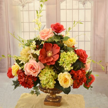 Floral Home Decor Elegant Rose Magnolia And Hydrangea Large Silk Flower Arrangement