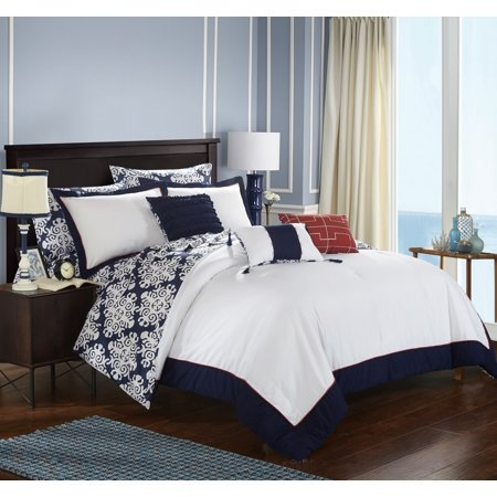 Medallion Getaway Bag - Chic Home 8-Piece Lalita Navy Blue and White REVERSIBLE Medallion printed PLUSH Hotel Collection Twin Bed In a Bag Comforter Set Navy With sheet set