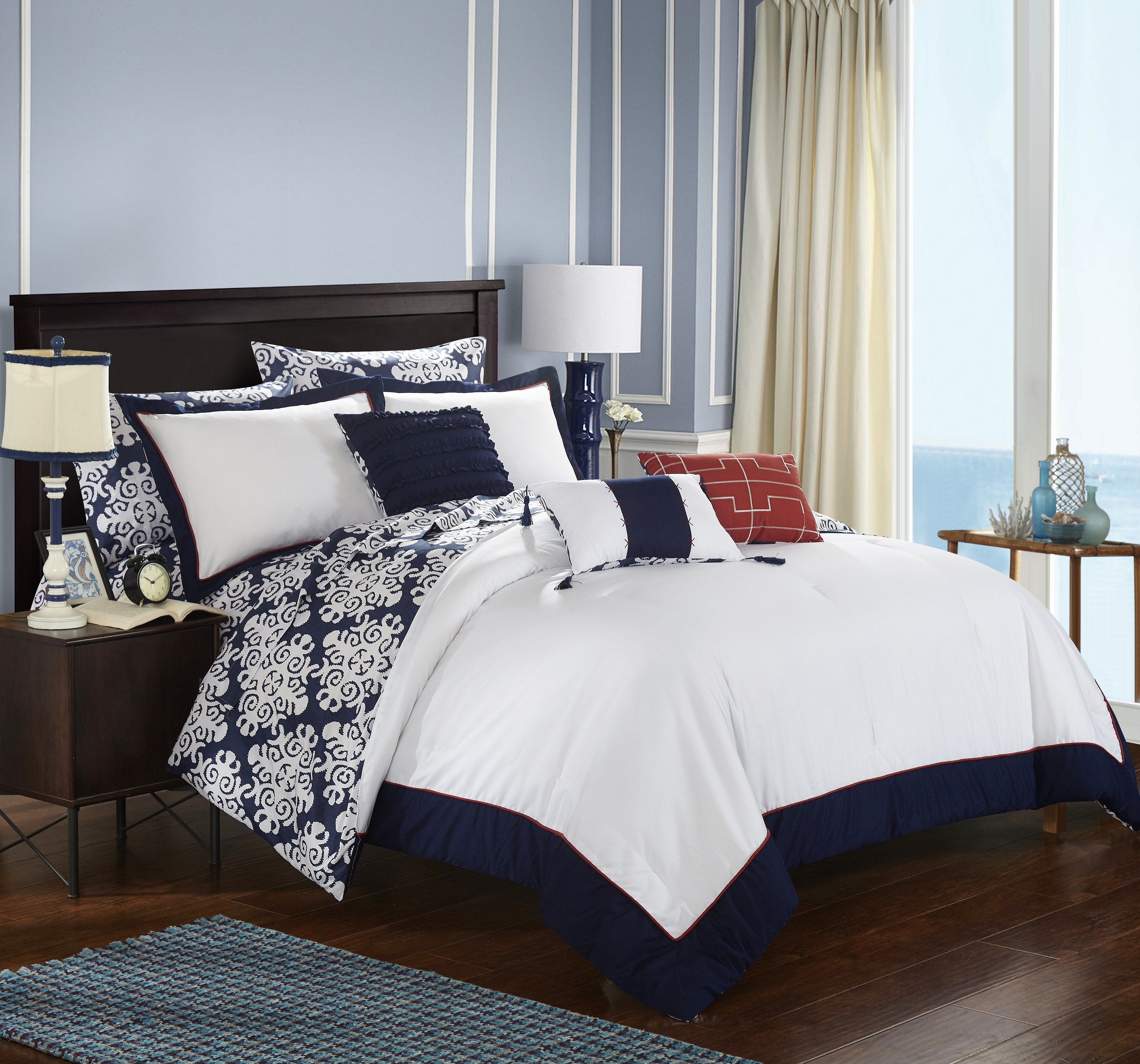 Chic Home 8-Piece Lalita Navy Blue and White REVERSIBLE Medallion printed PLUSH Hotel Collection Twin Bed In a Bag Comforter Set Navy With sheet set