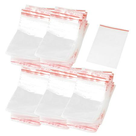 Unique Bargains 500 Pieces Wholesale Red Line Zipper Clear Plastic Bag