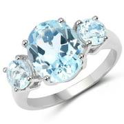 Malaika  Sterling Silver 5 1/5ct Blue Topaz Ring