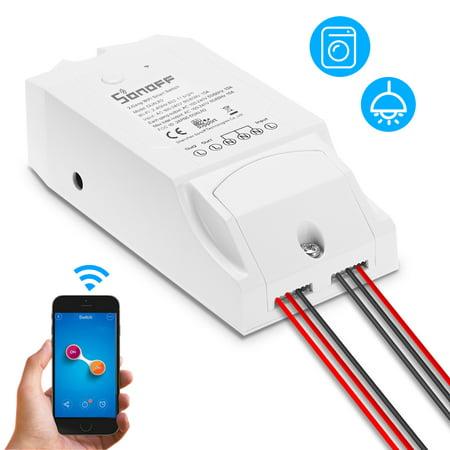 SONOFF Switch double WIFI Smart ITEAD à deux canaux Fonctionne avec Amazon Alexa & pour Google Home / Commutateur de télécommande sans fil Nest Universal Module d'automatisation 100-240V CA Sm - image 1 of 7