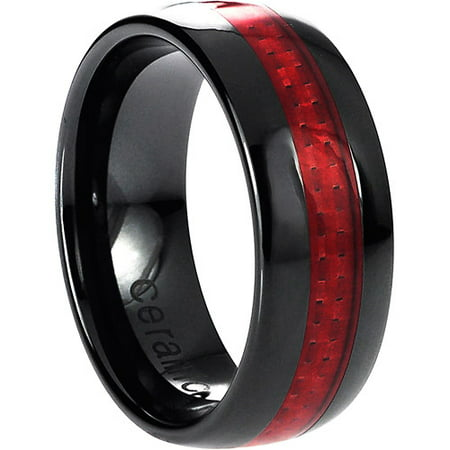 Daxx Mens Ceramic Red Carbon Fiber Inlay Ring