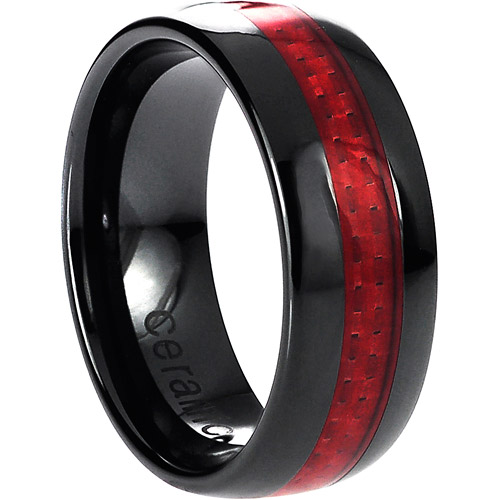 Daxx Men's Ceramic Red Carbon Fiber Inlay Ring