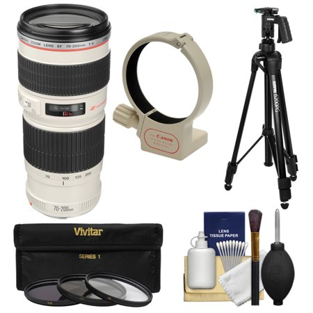 Canon EF 70-200mm f/4 L USM Zoom Lens with Tripod + Ring Collar + 3 UV/CPL/ND8 Filters + Kit for EOS 6D, 70D, 5D Mark II III, Rebel T3, T3i, T4i, T5, T5i, SL1 DSLR (Best Price Canon 24 70mm L Lens)