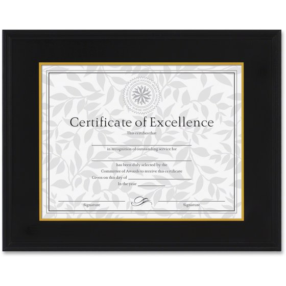 DAX Hardwood Document/Certificate Frame w/Mat, 11 x 14, 8 1/2 x 11 ...