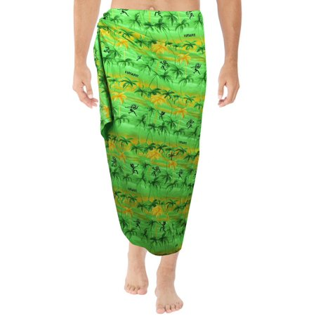 La Leela Sarong Gifts For Mens Bathing Swimsuit Aloha Beach Wrap Resort Pareo Swimwear Soft Fabric Printed Green Mustard 78X39 Inches Cyber Monday Deal Thanksgiving