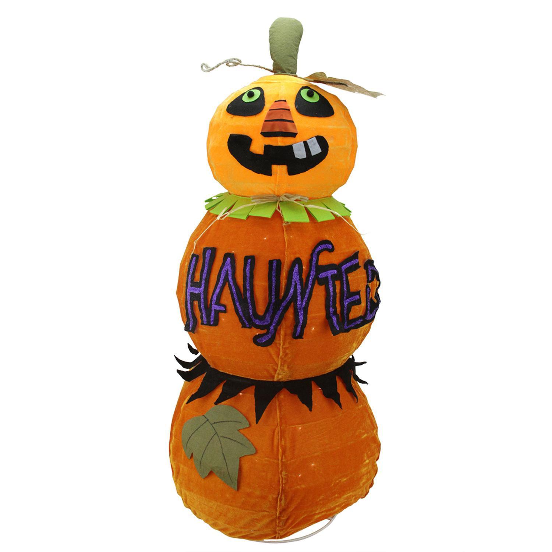 "38"" Lighted Standing Spooky ""HAUNTED"" Orange Jack-o-Lante..."