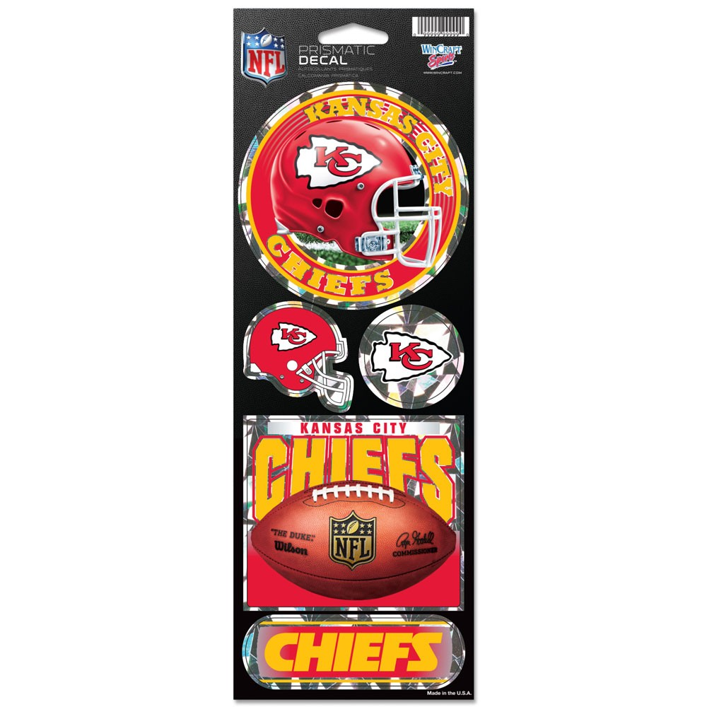 Kansas City Chiefs Official NFL 4 inch x 10 inch  Prismatic Car Decal Set by Wincraft