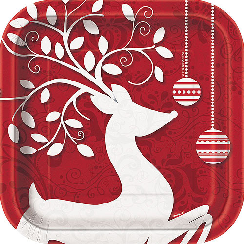 "7"" Square Frosted Holiday Christmas Dessert Plates, 10-Count"