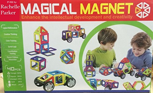 Magical Magnet 40PC Set with Wheels! Super Power Magnet Building Blocks Great for Car... by Pure by Rachelle Parker
