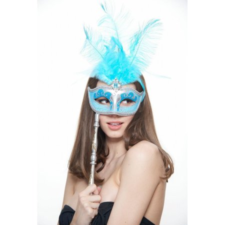 KAYSO INC FSM004BL GORGEOUS CARNIVAL INSPIRED BLUE HAND-HELD VENETIAN MASQUERADE MASK WITH - Masquerade Mask With Feathers