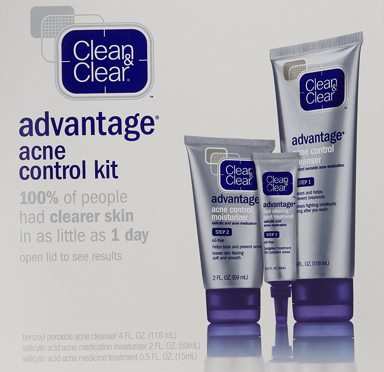 Clean Clear Advantage Acne Treatment Control Kit For Clear Skin Three Step Acne Prevention Skincare Regimen By Clean Clear Walmart Com Walmart Com