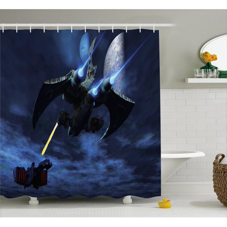 Galaxy Shower Curtain, A Lighter and Spaceship Blasts a Laser Beam an Enemy Battleship Galaxy Wars Pattern, Fabric Bathroom Set with Hooks, 69W X 70L Inches, Blue Black, by Ambesonne
