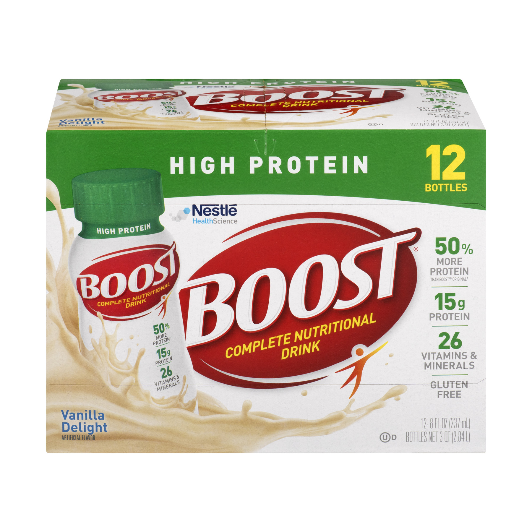 Boost High Protein Complete Nutritional Drink, Vanilla Delight, 8 Fl oz, 12 Ct