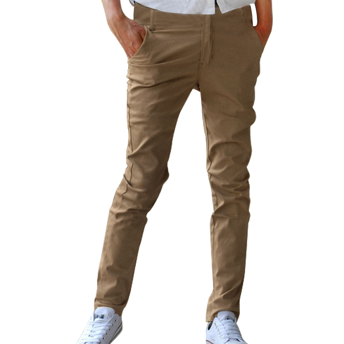Azzuro Men's Flat Front Pants Brown (Size M / W34)