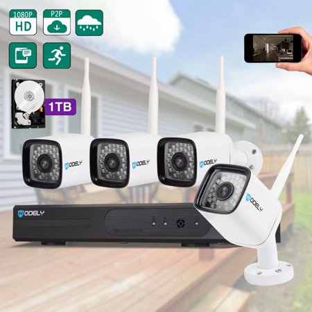 SUNZEO Wireless Security Cameras System With 1TB Hard Drive 960P NVR HD 1080P Outdoor Indoor Home Video Surveillance WiFi Cameras Night Vision Wired Power Supply Cameras(Wired Power Supply