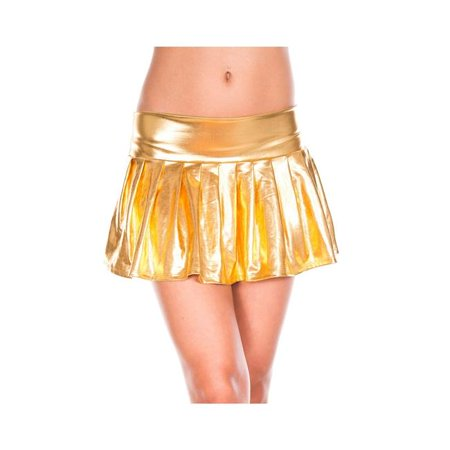 Music Legs 179-GOLD Wet Look Pleated Skirt, Gold - image 1 of 1