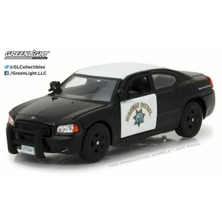 2008 Dodge Charger Police Interceptor Car California Highway Patrol Black W White Greenlight