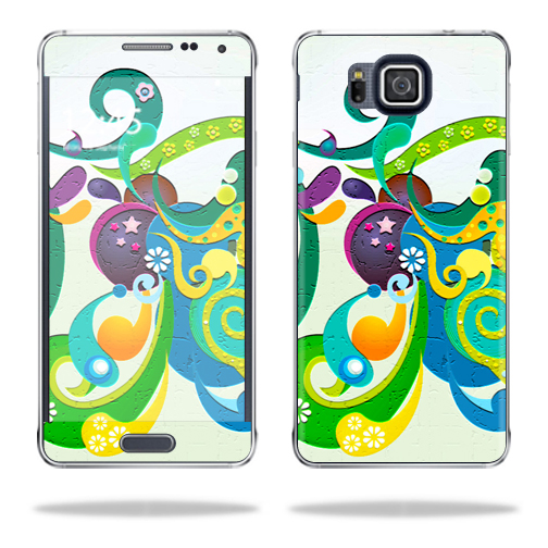 Mightyskins Protective Vinyl Skin Decal Cover for Samsung Galaxy Alpha G850 wrap sticker skins Flourish Blast