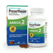 PreserVision® AREDS 2 Formula + Multivitamin, Eye Vitamin and Mineral Supplement with Lutein & Zeaxanthin–From Bausch + Lomb, 90 Soft Gels (MiniGels)