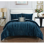 Chic Home Kerk 4 Piece Comforter Set Crinkle Crushed Velvet Bedding, Queen, Navy