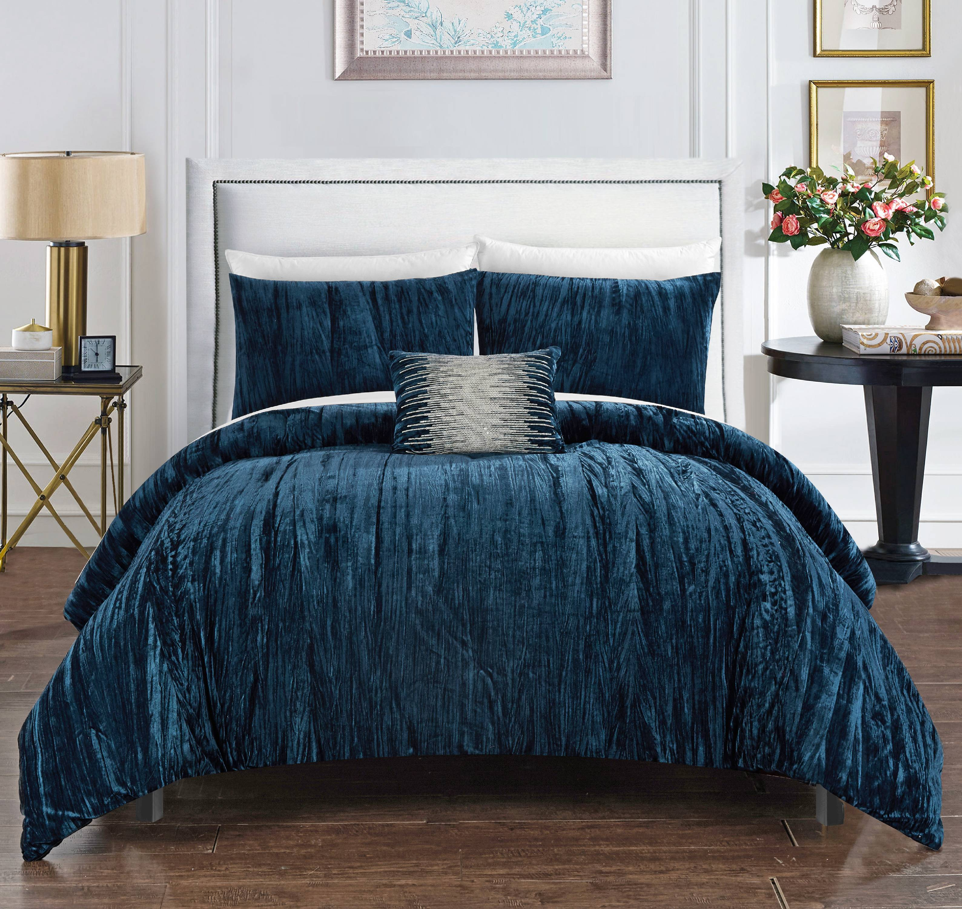 Chic Home Kerk 4 Piece Comforter Set Crinkle Crushed Velvet Bedding