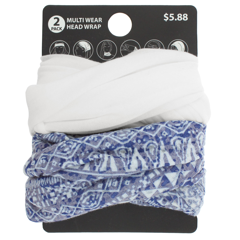 2pk Tribal/Solid Multiwear Headwrap