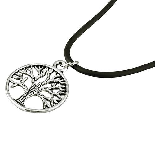 "Zodaca Tree Pendant Charm Black Leather Cord Choker Necklace Chain  20"""