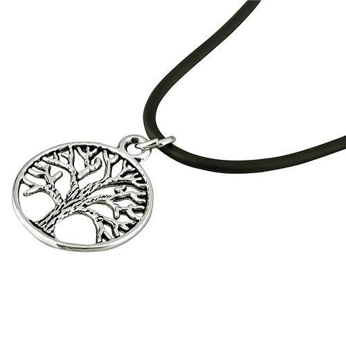 Zodaca Tree Pendant Charm Black Leather Cord Choker Necklace Chain  20""