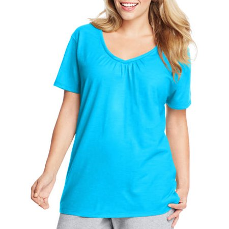 Just My Size Women's Plus-Size Slub Shirred V-Neck