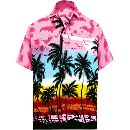 Men's Beach button down Hawaiian Front Pocket Aloha Tropical Tree (Microfleece Button Front Shirt)