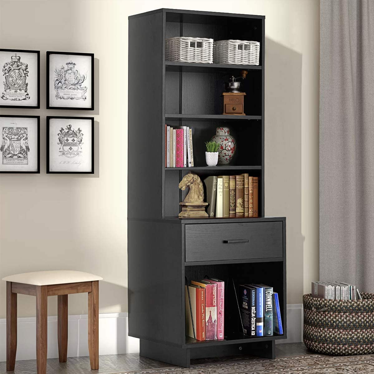 Erommy Wooden Bookcase Storage Cabinet, Bookcase Cabinets Living Room