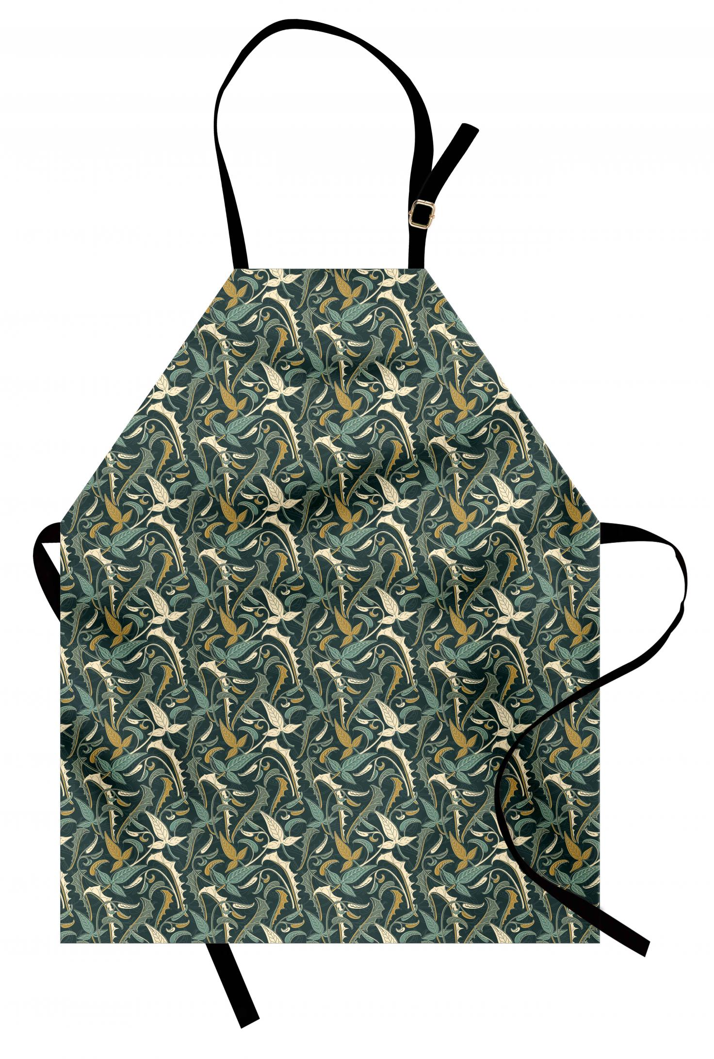 Feminine Botany Apron Unisex Kitchen Bib with Adjustable Neck Cooking Baking