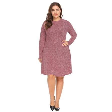 Women Long Sleeve Casual Loose Fit Knitted Tunic Sweater Dress Plus Size HFON