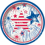 "7"" Fourth of July Fireworks Paper Dessert Plates, 8ct"