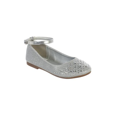Silver Shoes Girls (Girls Silver Sparkle Rhinestone Ankle Strap Dress)