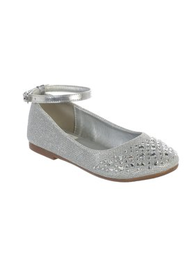 eef8608b Product Image Girls Silver Sparkle Rhinestone Ankle Strap Dress Shoes