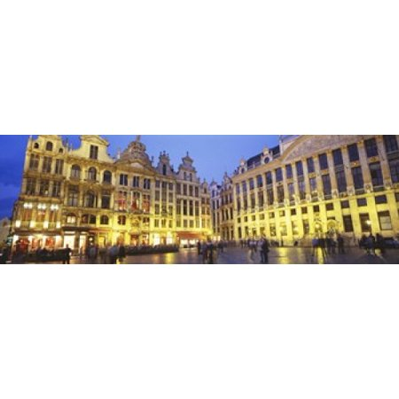 Grand Place Brussels Belgium Canvas Art - Panoramic Images (18 x 6) Brussels Grand Places House