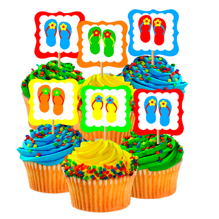 12pack Beach Summer Rainbow Novelty Flip Flop Cupcake Toppers Food Picks